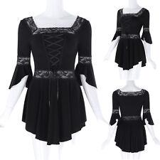 Blouse Top Damen Schwarz Gothic Spitzen Steampunk Victorian Shirts Freizeit Neu
