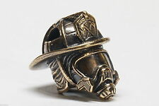 Collectible Solid Bronze FIREFIGHTER'S HELMET Bead Knife Axe Paracord Lanyard