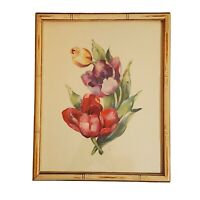 Vintage 1920s Bouquet Tulips Watercolor Painting Print Faux Bamboo Wooden Framed
