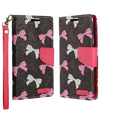 For LG Phoenix 3 Premium Leather Wallet Case Pouch Flip Cover Polka Dot Bows