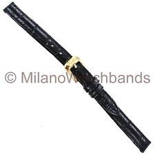 9mm Speidel Alligator Grain Genuine Leather Black Stitched Ladies Watch Band