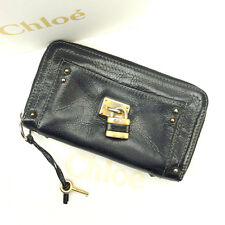 Chloe Wallet Purse Long Wallet Paddington Black Woman Authentic Used F782