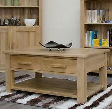 Arden solid oak living room furniture storage coffee table