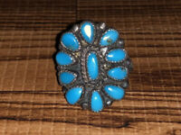 Old Pawn Native American Zuni Turquoise Petit Point Cluster Ring Size 5
