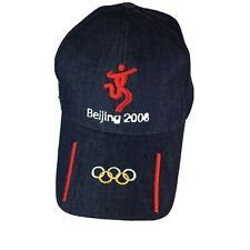 Beijing 2008 Olympics Blue Denim Embroidered Symbol Red Gold White Baseball Cap