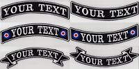 "LARGE CUSTOM BACK ROCKER RIBBON PATCHES 11 1/2"" PERSONALISED BIKER SCOOTER CLUB"
