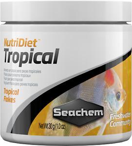 Seachem NutriDiet Tropical Flakes 30g NEW Probiotic Formula Color Enhancing Diet