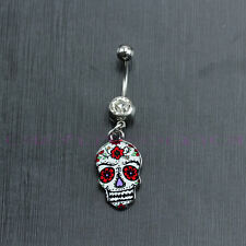 New Flowers Skull Shape Belly Button Dangle Navel Ring Body Piercing Jewelry