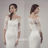 White Wedding Jacket Off shoulder Lace Half Sleeve Sheer Bridal Wrap Bolero
