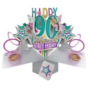 90th Birthday Card 3D Pop Up Card Male Dad Grandad Husband Gift Card