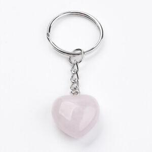 Rose Quartz Heart Keychain Keyring Crystal Gemstone Love Reiki Healing UK Seller