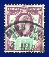 1905 SG224 1½d Slate Purple & Blue-Green CSP M9(2) Fair Used  bajm