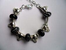 Bella argento teschio Catenina Braccialetto con nero perline e ciondoli
