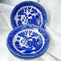 "4 piece Set Vintage Blue Willow Soup Cereal Salad Bowls 6""  Made in Japan"