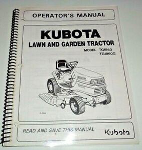 Kubota TG1860 TG1860G Lawn Garden Tractor Operators Maintenance Manual OEM 9/04