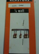 Resistor (5)  1/4watt 220k ohm 5% Carbon Film Resistors Radio Shack NOS
