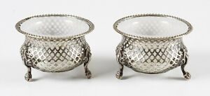antique pair of white metal and white opaline glass open salts