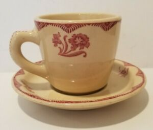 STERLING CHINA  Coffee Cup and Saucer  DESERT TAN  Vitrified  Red / Pink Floral