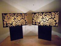 Design Vintage 80 Rare Paire Lampes Métal laqué Noir Abat-jour Fleur Shabby Chic