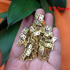 20pcs 8*10mm Decorative Jewelry Cigar Box Hinges Brushed Brass Mini Hinge New
