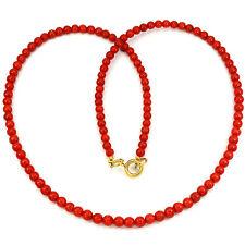 Collar Coral Natural Rojo 6MM. Plata 1ª ley .925 Chapada En Oro 18K. Nuevo.