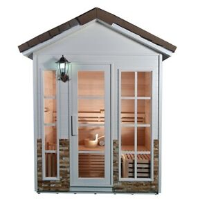 New Canadian Hemlock 3 4 Person Outdoor Wet Dry Sauna SPA With Roof Dome Sauna