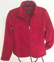 Eivissa Luxurious Fleece Zip Jacket Pockets Red Wine Marble Texture Women M