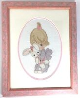 Precious Moments Completed Cross Stitch Finished Framed Pink Girl Bunny
