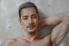 """Fine art nude male original oil painting men Sitting on the bed 24""""x36"""""""