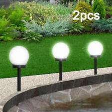 2Pc Rechargeable LED Solar Garden Globe Lights Stake Ball Round Mood Sphere Lamp
