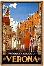 Retro Vintage Verona Italy Metal Sign Italian Tourism Advertising Travel Decor