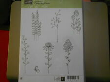 Stampin Up Wooden Stamp Set (new) FLOWERING FIELDS (7 stamps)