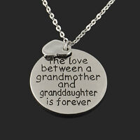 """The Love Between Grandma and Granddaughter Love"" Heart Pendant Family Necklace"