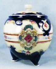 Nippon Biscuit Cracker Jar Cobalt Blue Flower Medallions Gold Porcelain NPSK