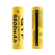 10pcs 18650 3.7V 9800mAh Yellow Li-ion Rechargeable Battery Cell For Torch FE