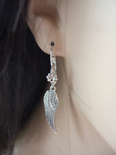 FABULOUS SILVER TONE ANGEL WING & CRYSTAL HOOK CHARM BIJOUX EARRINGS