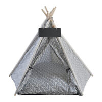 Cotton Pet Teepee Tent Foldable Cat Dog Bed Paw Hut House with Removable Cushion
