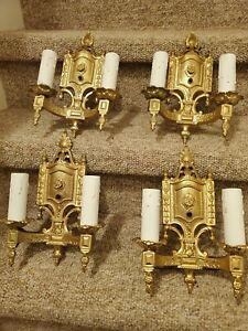 Antique 1920s set of 4 Ornate Cast Iron Wall Sconces restored and rewired