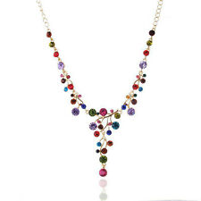 FashionWomen Colorful Crystal Bib Collar Chunky Statement Chain Pendant Necklace