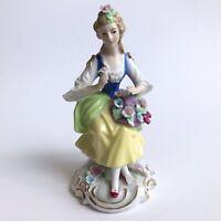 CAPODIMONTE Porcelain 18th-Centrury Costume Woman Figurine W/ Flowers Hat Roses