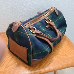 Vintage POLO RALPH LAUREN Handbag Purse Green Tartan Plaid Blackwatch Tote Bag