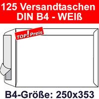 125 Versandtaschen ohne Fenster, DIN B4, Haftklebung, Weiß, 120g, Briefumschläge