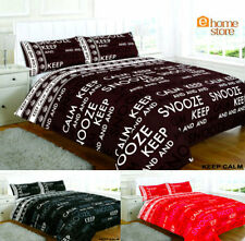 KEEP CALM AND SNOOZE DUVET COVER SET INCLUDING PILLOWCASES