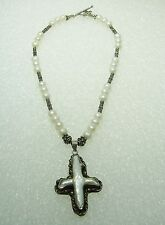 STERLING SILVER FRESHWATER PEARL CROSS PENDANT & 16 1/2'' NECKLACE N116-L