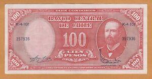 CHILE aXF 10 CENTESIMOS DE ESCUDO ON 100 PESOS P-127a ND(1960-1961) BANKNOTE