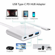 New Type C USB 3.1 to USB-C 4K HDMI USB3.0 Adapter 3 in 1 Hub For Apple Macbook