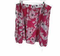 INC International Concepts Pink White Floral Off Shoulder Blouse Womens Size XL