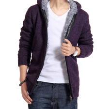 Winter Mens Cardigan Sweater Fur Wool Lining Hoodie Knitted Jacket Hooded Coat