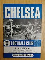 Chelsea v Liverpool 1970-71 Football Programme 12th April 1971 Division 1 Soccer