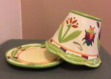 Yankee Candle Large Ceramic Jar Shade Topper & Base Debbie Mumm Design Bugs